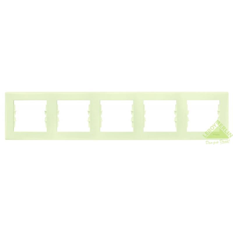 Рамка для розеток и выключателей Sedna, 5 постов, горизонтальная, цвет бежевый