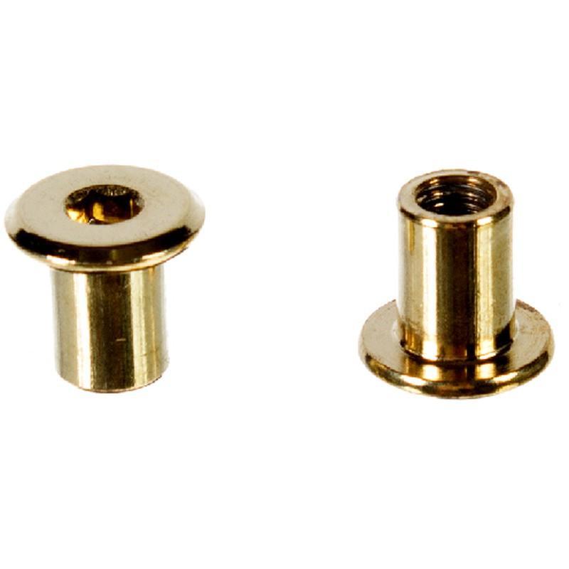 Гайка-втулка мебельная плоская 6х12 мм, металл, цвет латунь, 4 шт.