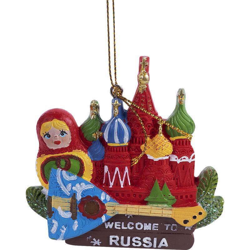 Украшение ёлочное «Кремль и матрёшка», 8 см