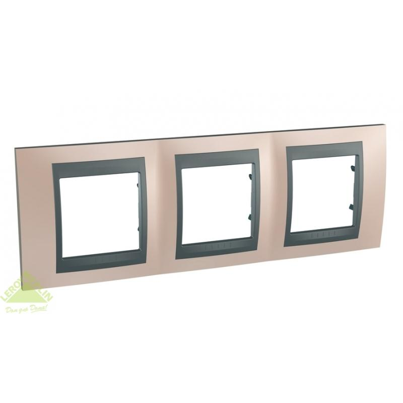 Рамка для розеток и выключателей Schneider Electric Unica Top 3 поста оникс/графит