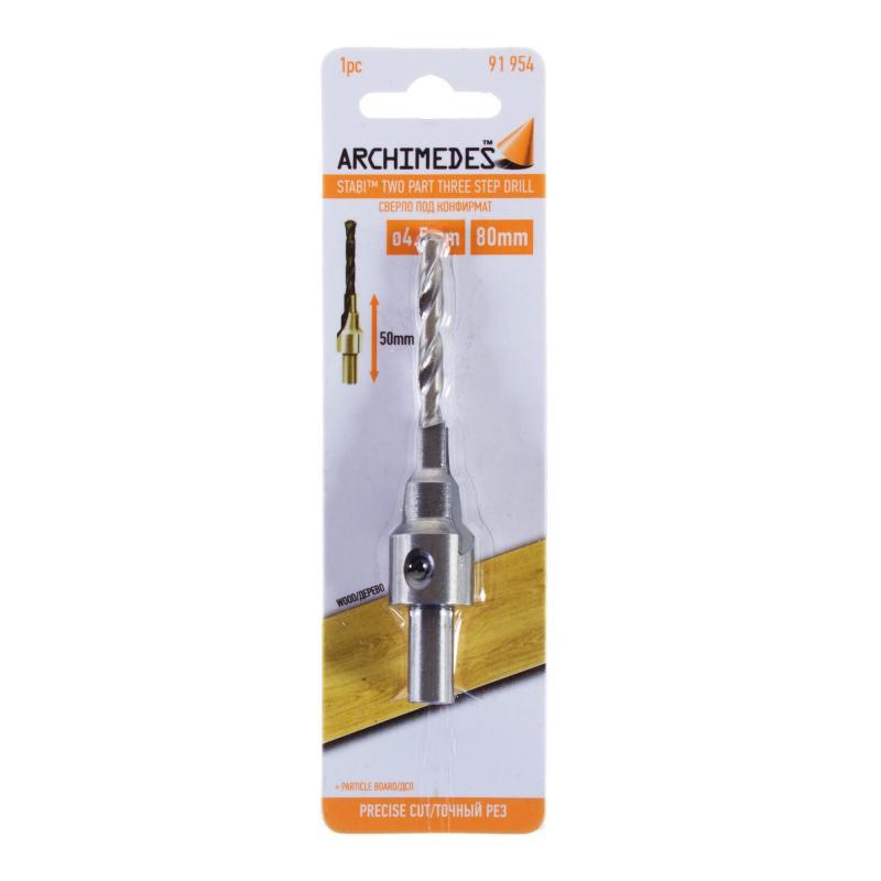 Сверло под конфирмат 4.5х80 мм Archimedes 91954