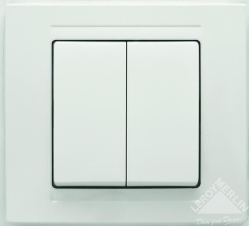 Выключатель Gunsan Moderna 2-клавишный, белый