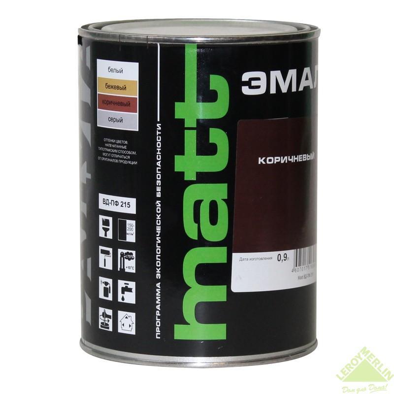 Эмаль коричневая ВД-ПФ 215 МАТТ 0.9 л