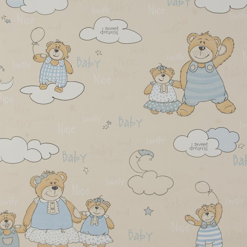Обои бумажные для детской Мишутка 0.53х10 м цвет бежевый 484 -02