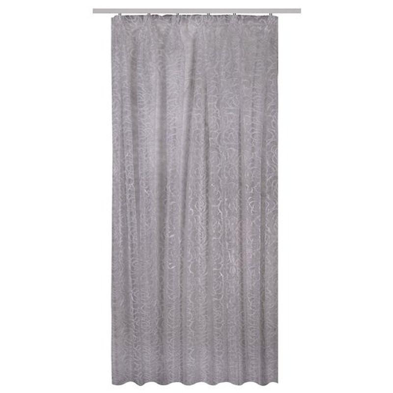 Тюль на ленте «Соларо» 300х260 см цвет серый