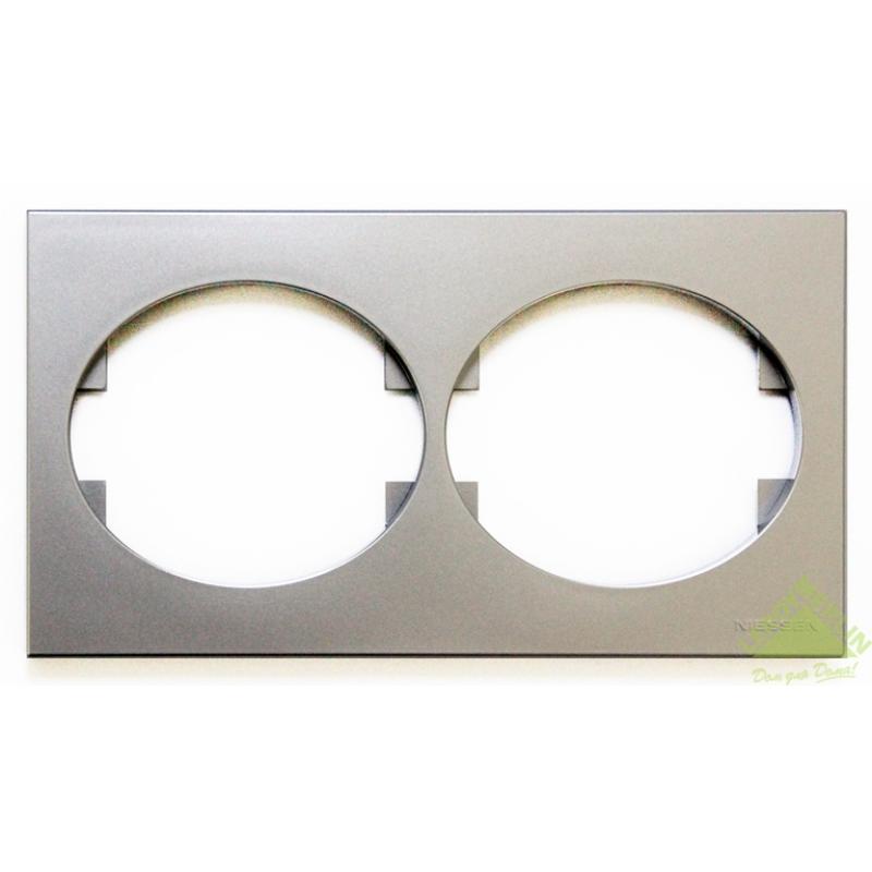 Рамка для розеток и выключателей Tacto, 2 поста, цвет серебро