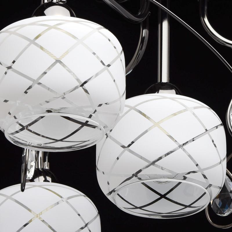Люстра Грация 4xE27x60 Вт, металл/стекло, цвет никель/белый
