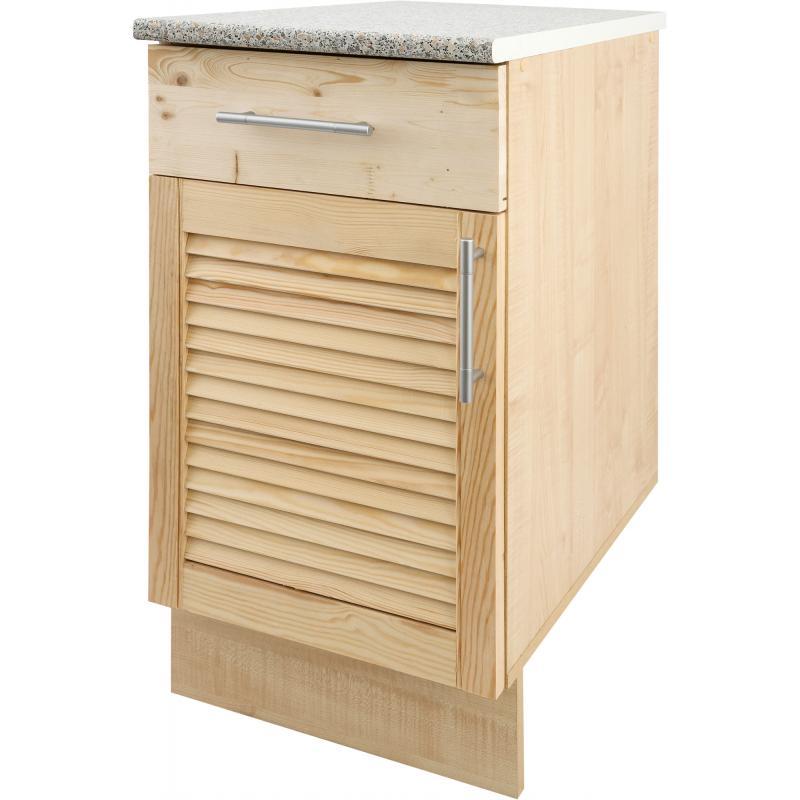 Шкаф напольный «Сосна жалюзи Мо» с фасадом и одним ящиком 85х40 см, хвоя/ЛДСП, цвет cосна