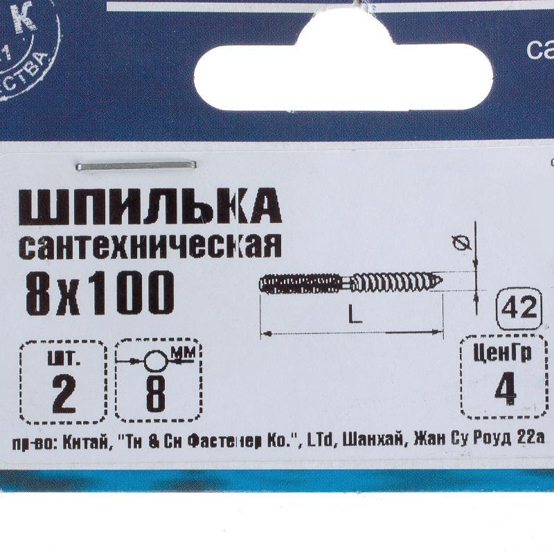 Шпилька сантехническая 8х100 мм, 2 шт.