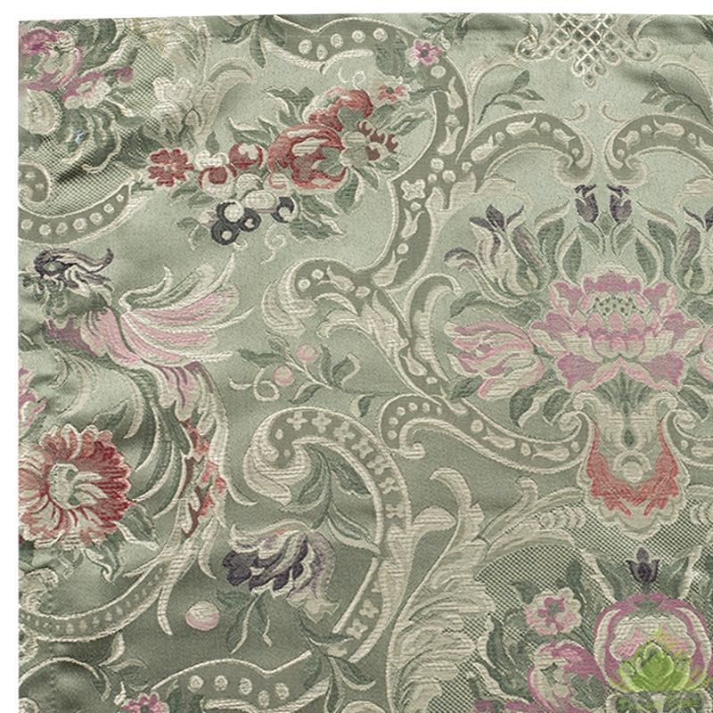 Штора, 1 шт., жаккард цветы зеленая, 150х260 см