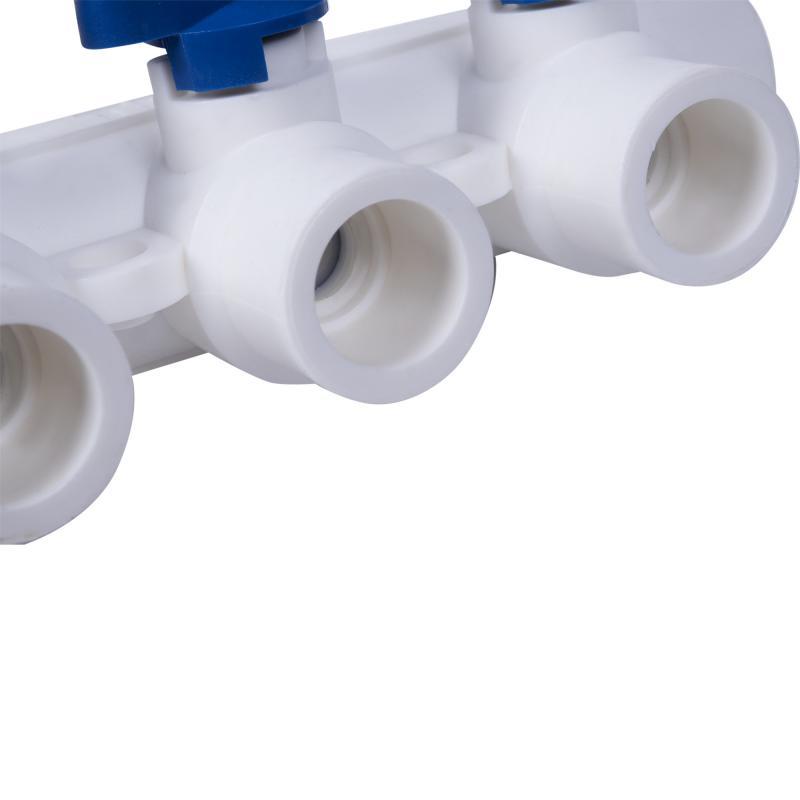 Коллектор Тебо, 3 выхода c кранами, 25х20 мм, полипропилен