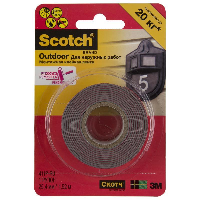 Лента монтажная Scotch для наружных работ 25 мм 3.12 м, пластик