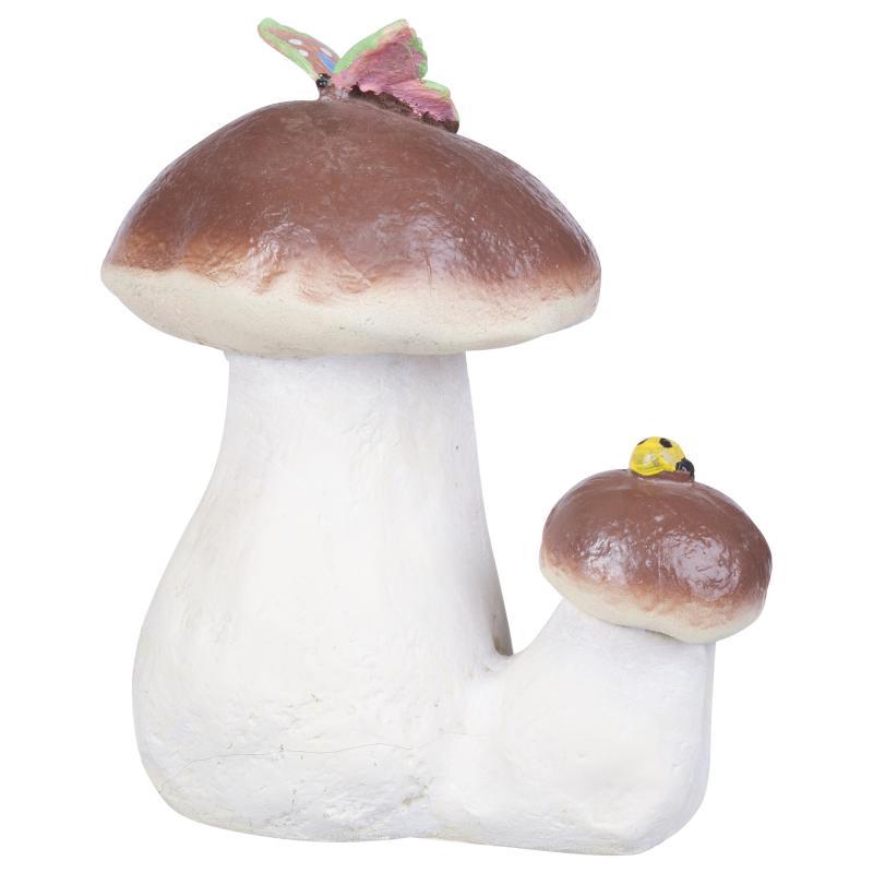 Фигура садовая «Гриб белый двойной с бабочкой» высота 23 см