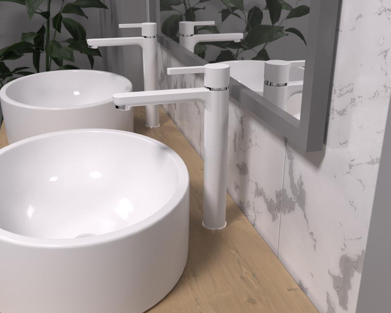 Смеситель для раковины Arena, высокий излив, цвет белый