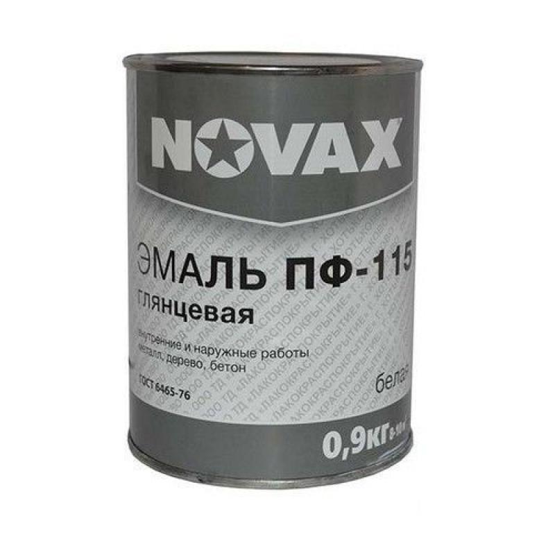 Эмаль Novax ПФ-115 0.9 кг цвет белый