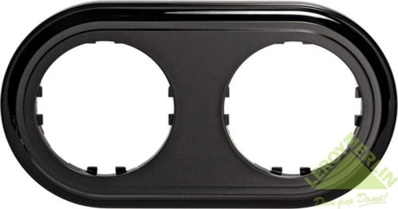 Рамка LK Vintage-Classic 2 поста круглая, черная