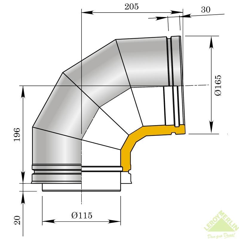 Утепленное колено Мета, 87 мм