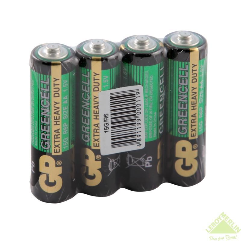 Батарейка солевая GP AA 15G, 4 шт.