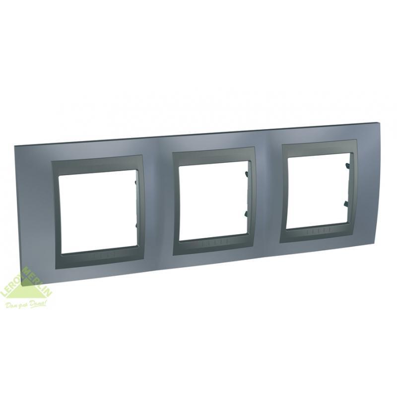 Рамка для розеток и выключателей Schneider Electric Unica Top 3 поста грей/графит