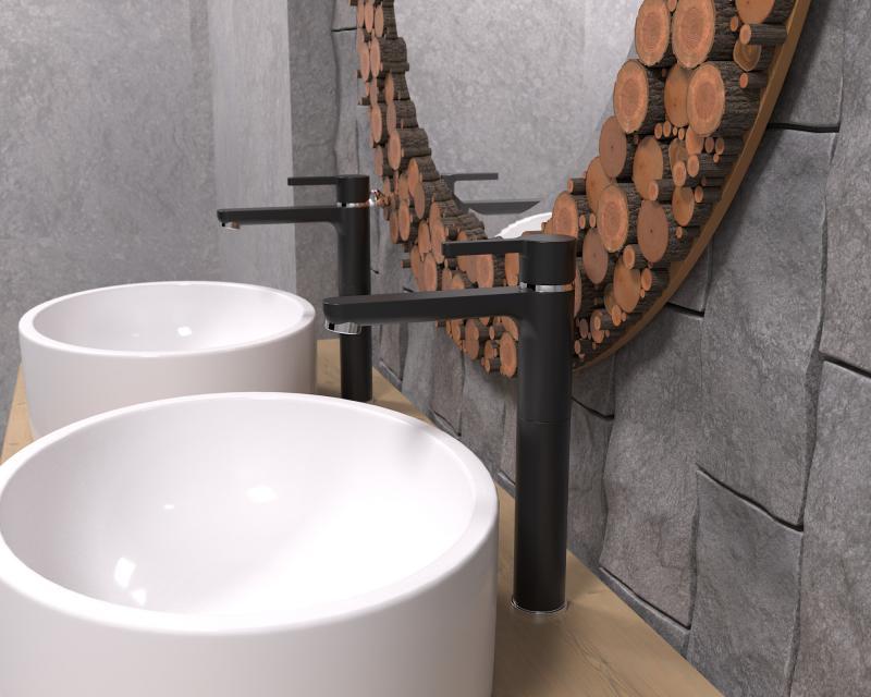 Смеситель для раковины Arena однорычажный высокий, цвет чёрный