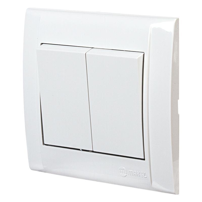 Выключатель Makel Defne 2 клавиши 10 А, белый
