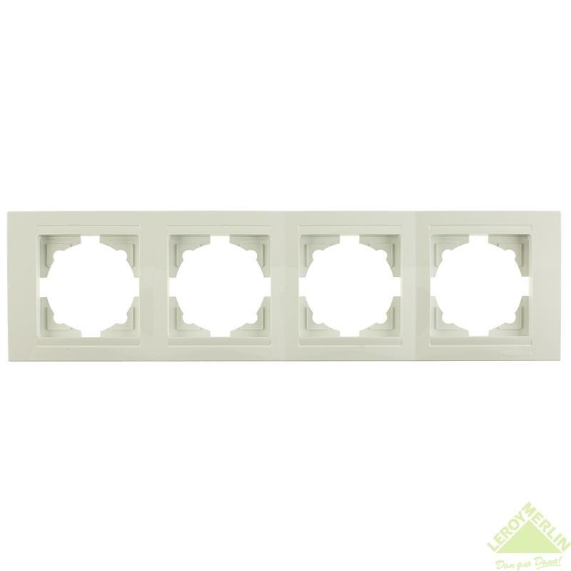 Рамка для розеток и выключателей Gunsan Moderna, 4 поста, цвет белый