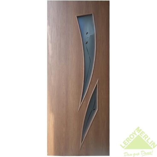 Дверное полотно остеклённое Камея 600x2000 мм, каштан, с фурнитурой