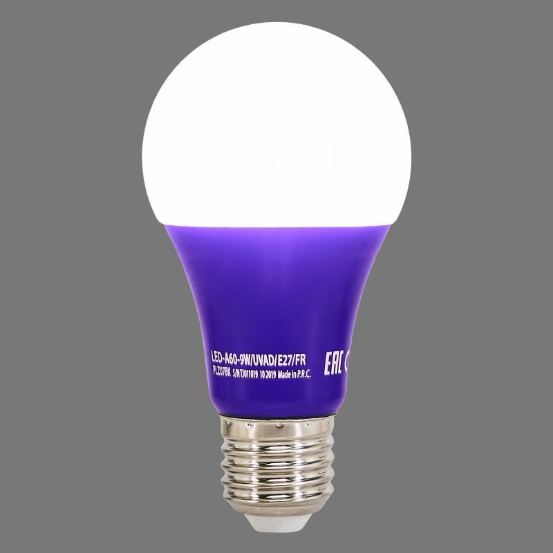 Лампа светодиодная ультрафиолетовая Uniel E27 170-240 В 9 Вт груша, фиолетовый свет