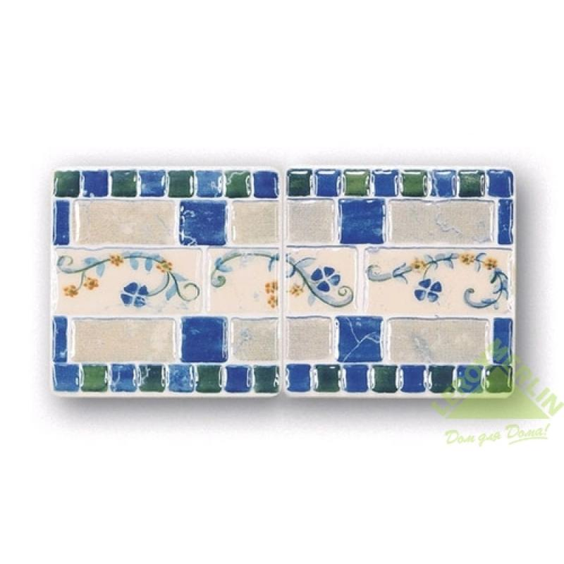Декор Majolika Mezza 2, цвет темно-синий, 23,5х11,5 см