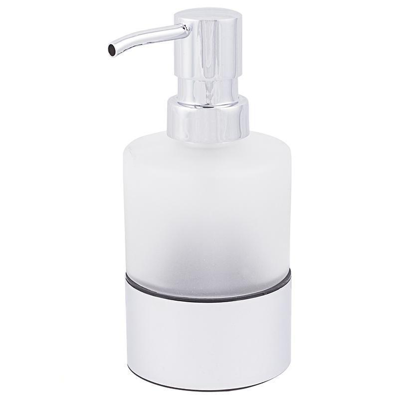 Дозатор для жидкого мыла настольный Fixen «Kvadro 2» стекло цвет белый