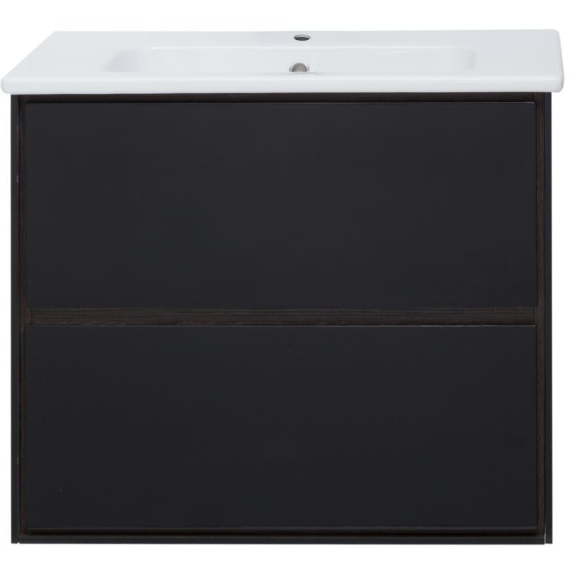 Тумба под раковину подвесная «Мокка» 80 см, цвет чёрный глянец