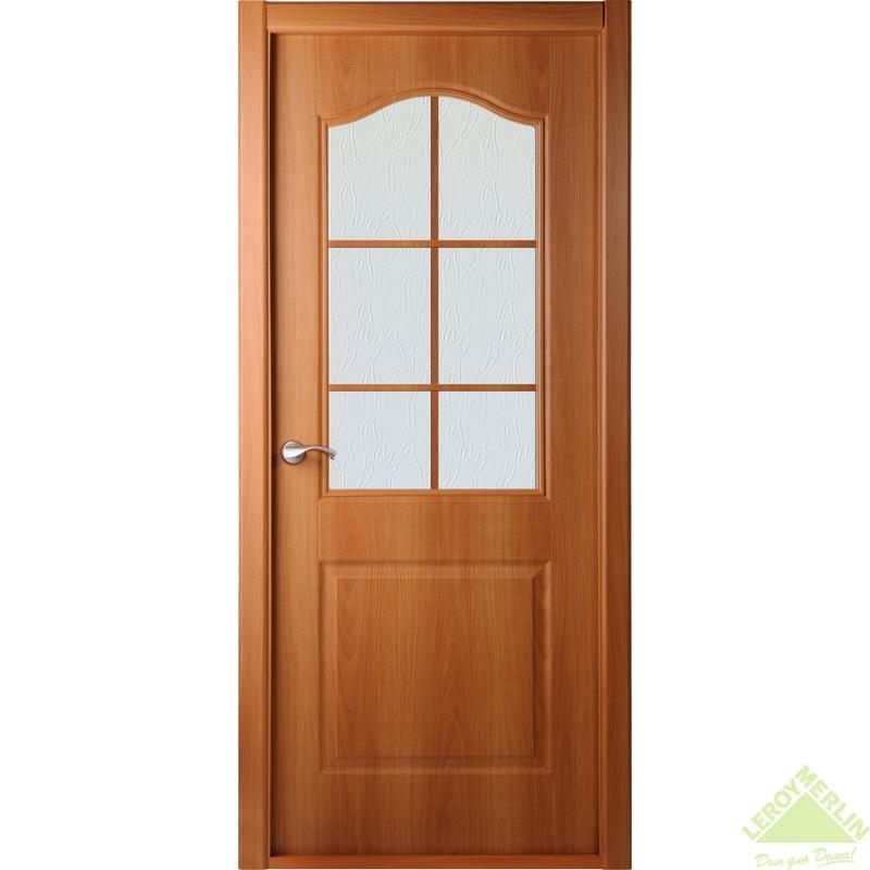 Дверь межкомнатная остеклённая Капричеза 600x2000 мм, миланский орех