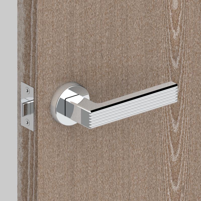 Ручка дверная на розетке LINE URB6/HD CP-8, цвет хром