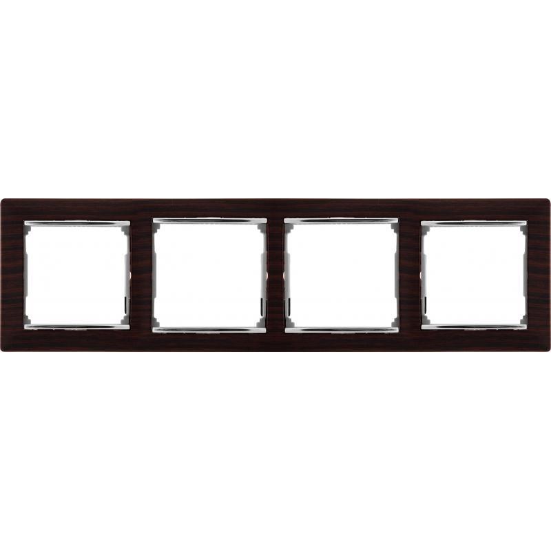 Рамка для розеток и выключателей Legrand Valena 4 поста, цвет тёмное дерево/серебряный штрих