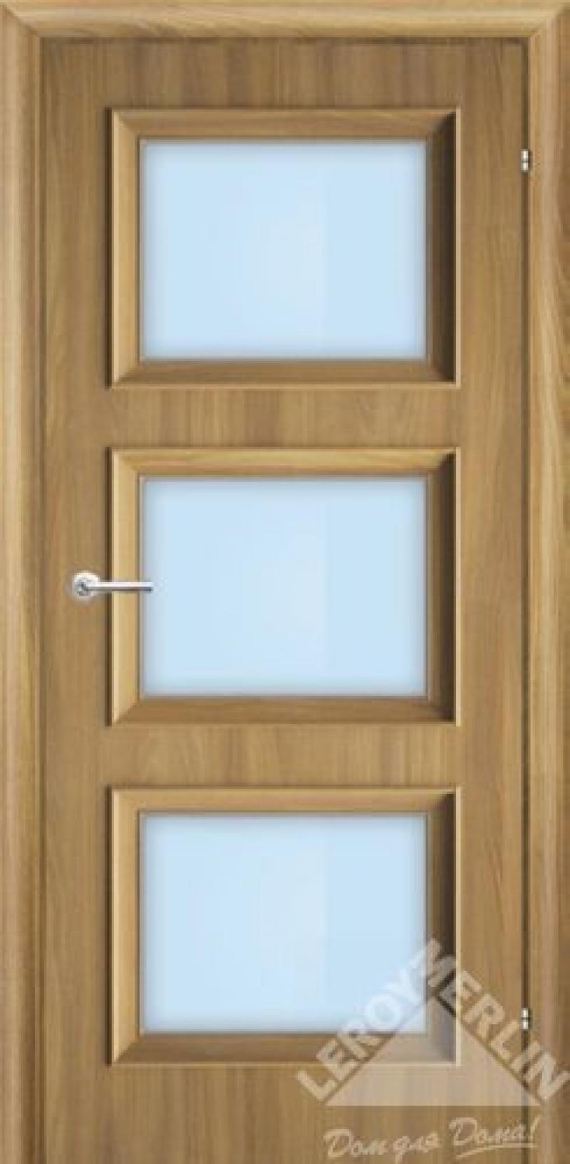 Дверь межкомнатная остеклённая, 700 мм, акация, замок 2014