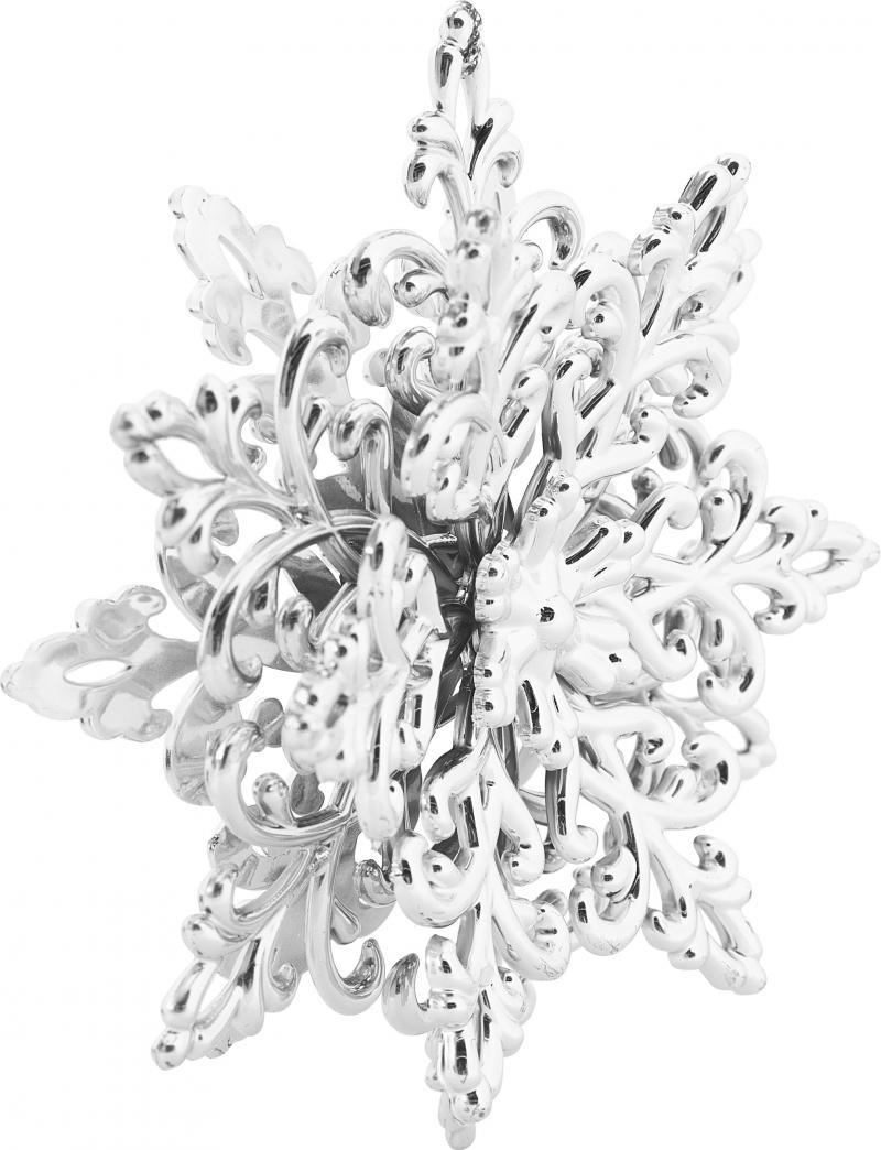 Украшение ёлочное «Снежинка Кристалл», 11.5 см, гальванизированное, цвет серебристый