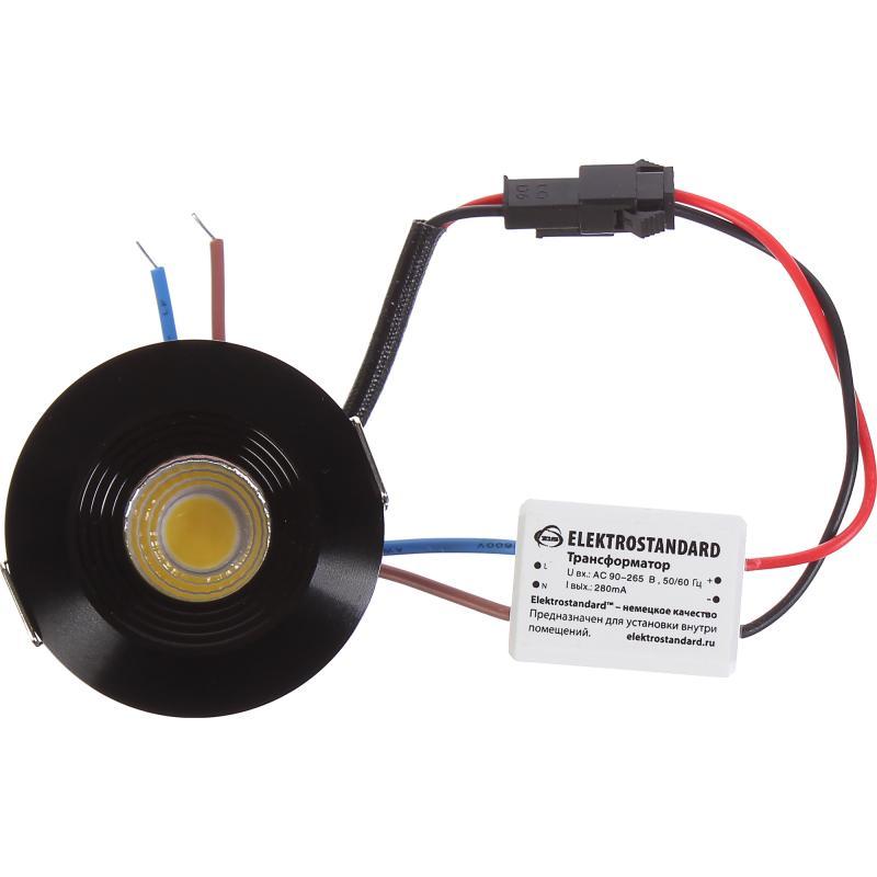 Светильник встраиваемый светодиодный Elektrostandard 9903 COB, 3 Вт, цвет чёрный