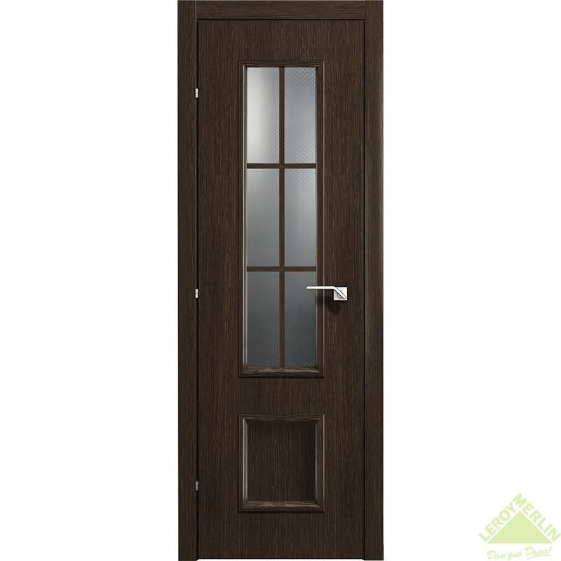 Дверь межкомнатная остеклённая 5003 КД 21-7 с фурнитурой, черный дуб