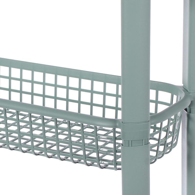 Стеллаж для ванной комнаты на колёсах четырёхъярусный цвет фисташковый