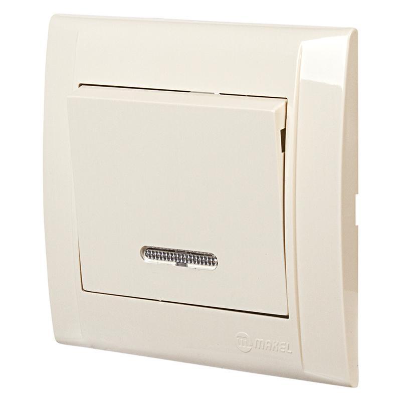 Выключатель Makel Defne 1 клавиша с индикатором. 10 А, кремовый
