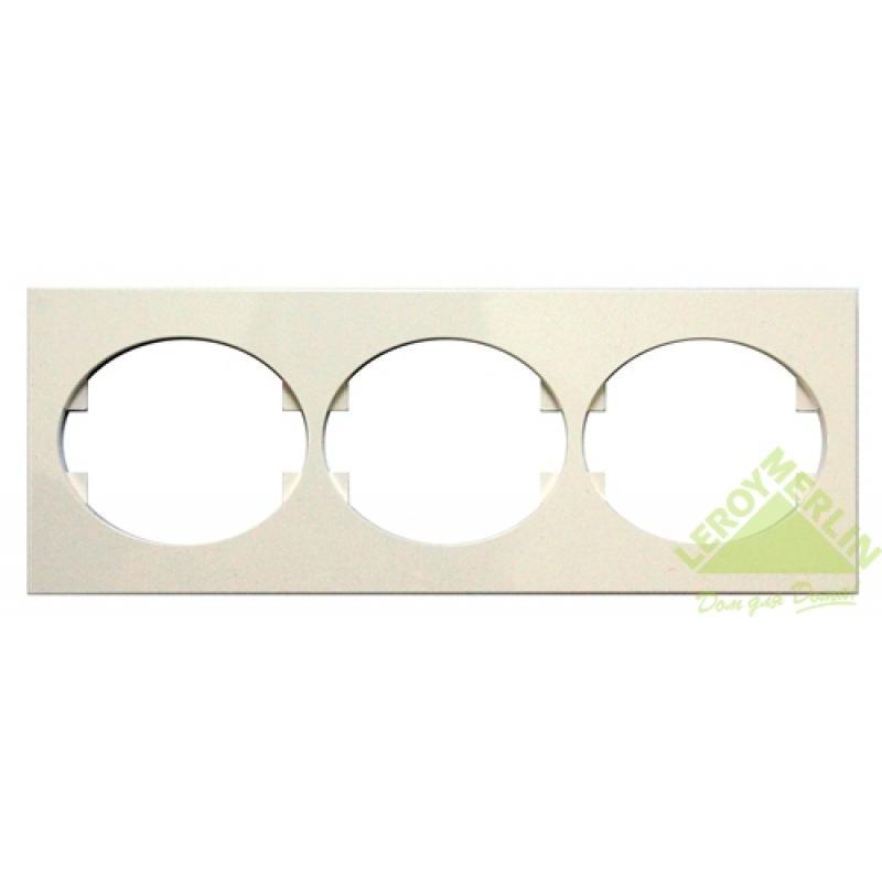 Рамка для розеток и выключателей Tacto, 3 поста, цвет белый