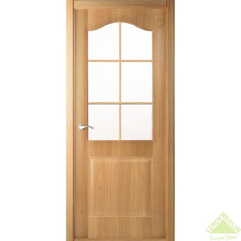 Дверь межкомнатная остеклённая Капричеза 700x2000 мм, светлый дуб