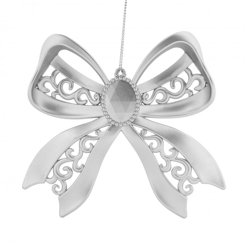 Украшение ёлочное «Бант», гальваника, цвет серебряный