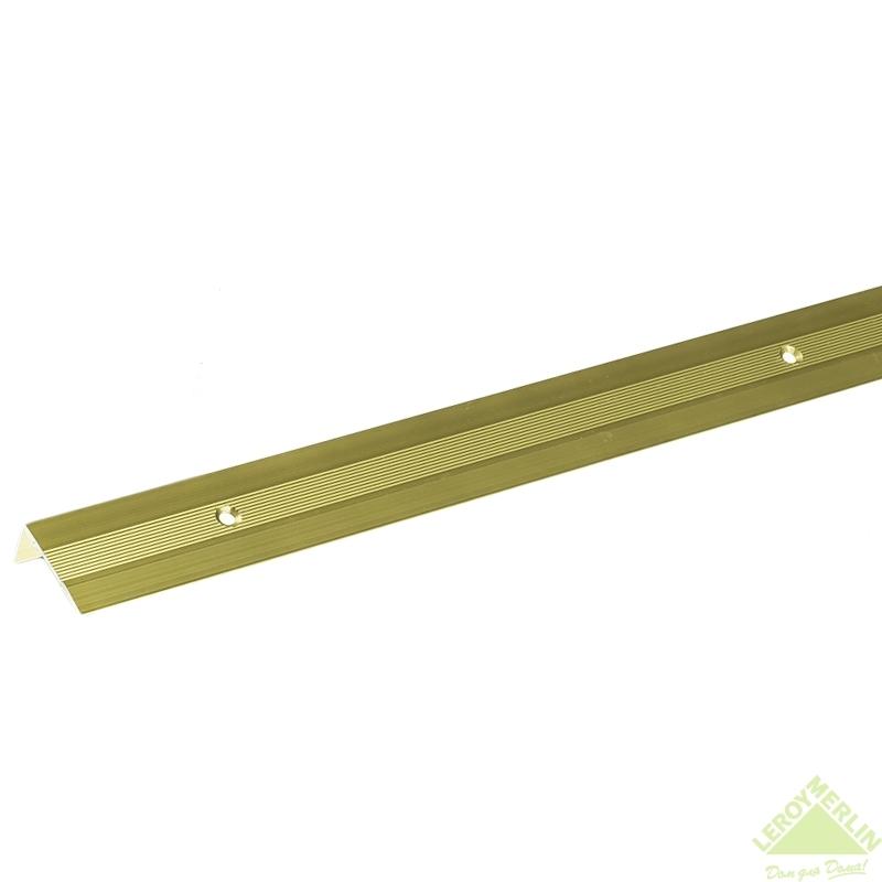Порог алюминиевый Угол-267 золото, 1000x30x15 мм