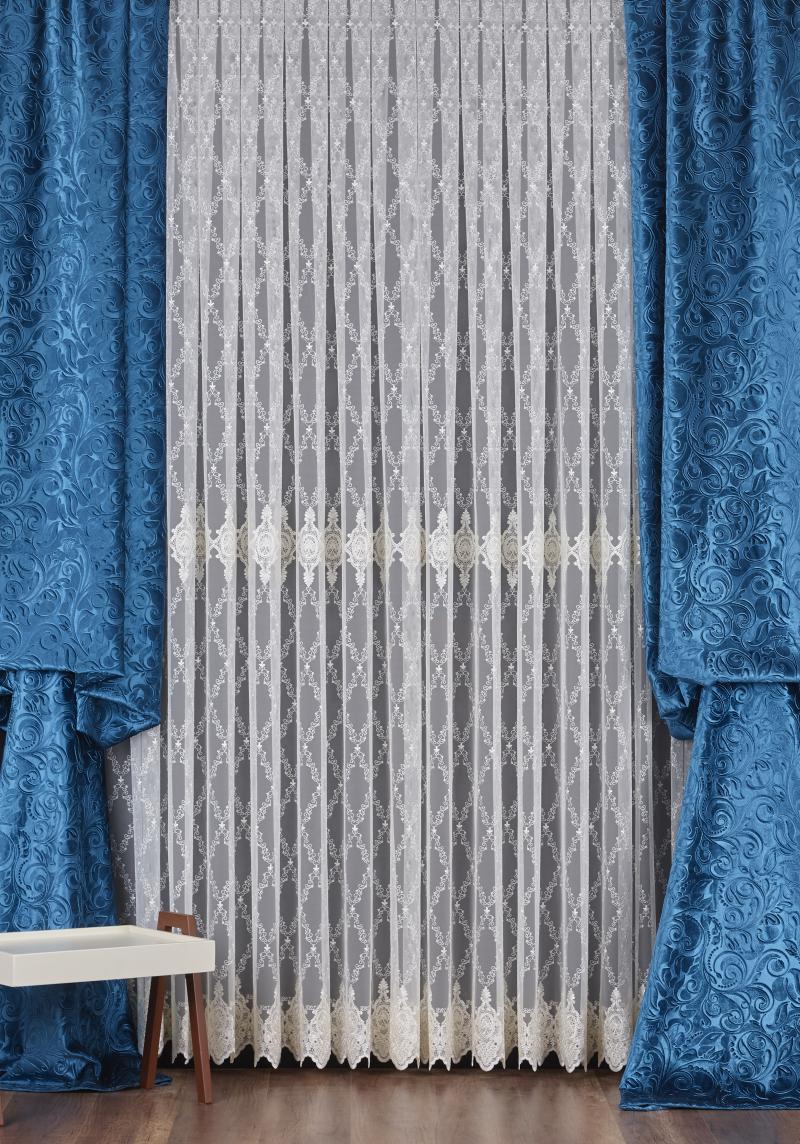 Тюль с вышивкой на сетке «Элит» 1 п/м 290 см цвет кремовый