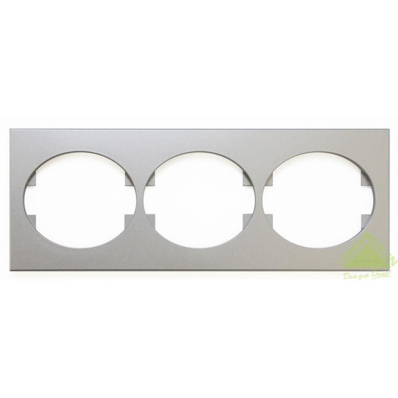 Рамка для розеток и выключателей Tacto, 3 поста, цвет серебро