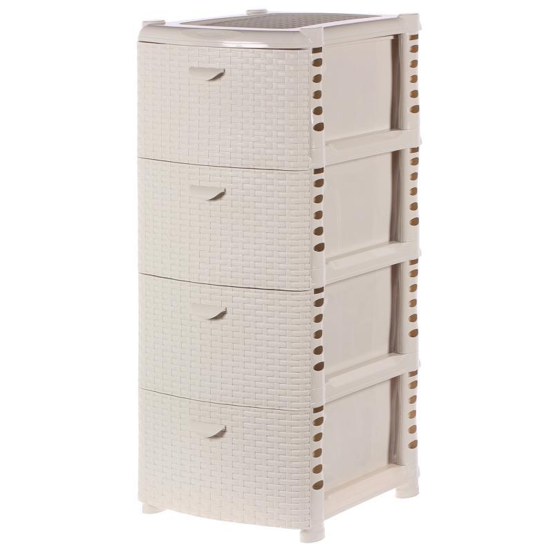Комод «Ротанг», 4 ящика, 40.5х50.5 см, цвет белый