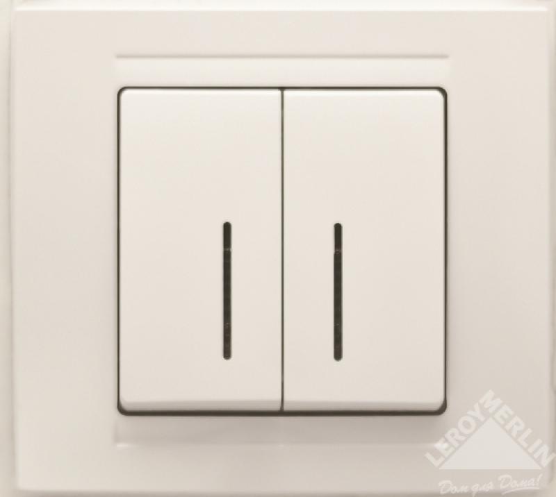 Выключатель Gunsan Moderna 2-клавишный с подсветкой, белый