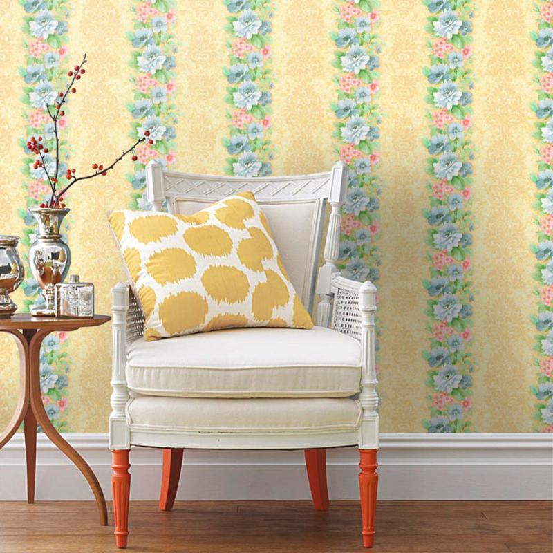 Обои бумажные Нежность-51 0.53х10 м цветы цвет жёлтый