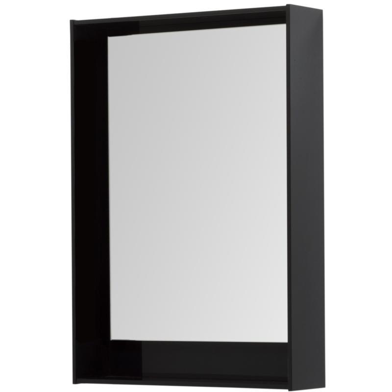 Зеркало с подсветкой «Мокка» 60 см, цвет чёрный глянец